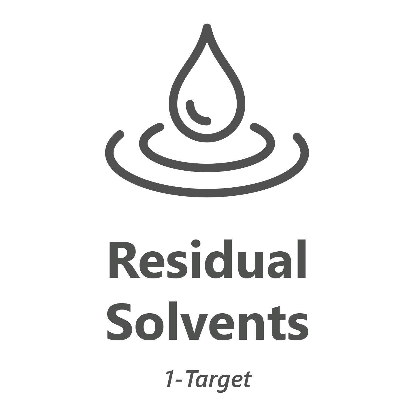 Web store icon for residual solvents, 1 target chemistry test.